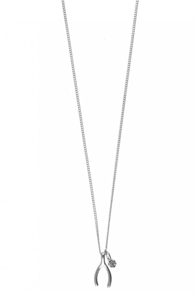 Hultquist Wishbone Necklace with Crystal Ball in Silver