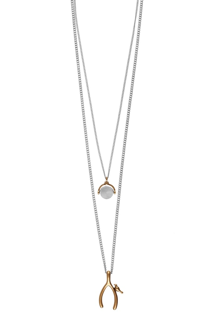 Hultquist wishbone necklace with spinning pendant in silver and gold hultquist jewellery wishbone necklace with spinning pendant in silver and gold mozeypictures Images