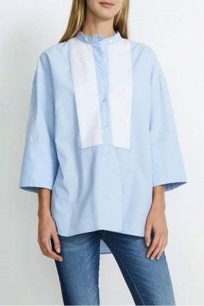 Cherry Tuxedo Shirt in Soft Blue