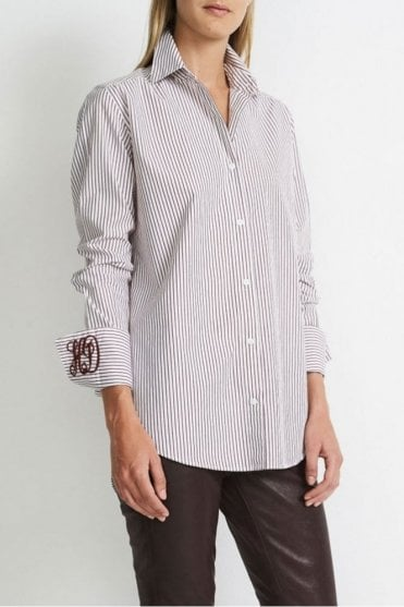 Striped B.D. Shirt in Burgundy