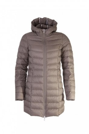 Air 01 Down Coat with Hood in Taupe