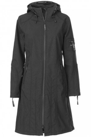 RAIN06 Thigh-Length Softshell Raincoat in Black