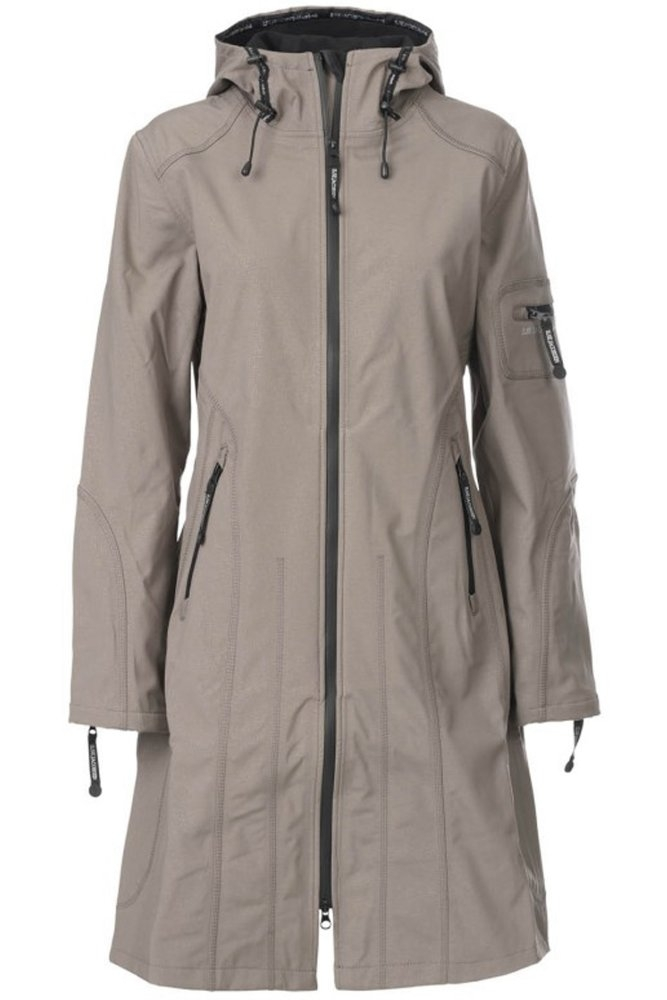 c5e11bb9cbe1 Ilse Jacobsen Rain06 Long Softshell Raincoat Dark Ash at Sue Parkinson