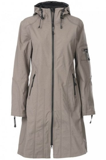 Rain06 Thigh-Length Softshell Raincoat in Dark Ash