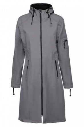 RAIN06 Thigh-Length Softshell Raincoat in Smoke Pearl