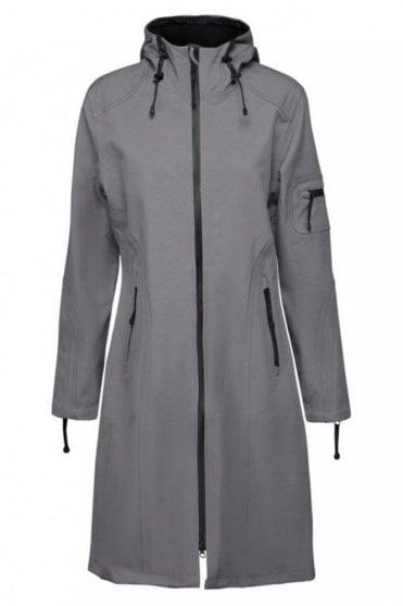 RAIN06 Thigh-Length Softshell Raincoat in Smoke Pearl