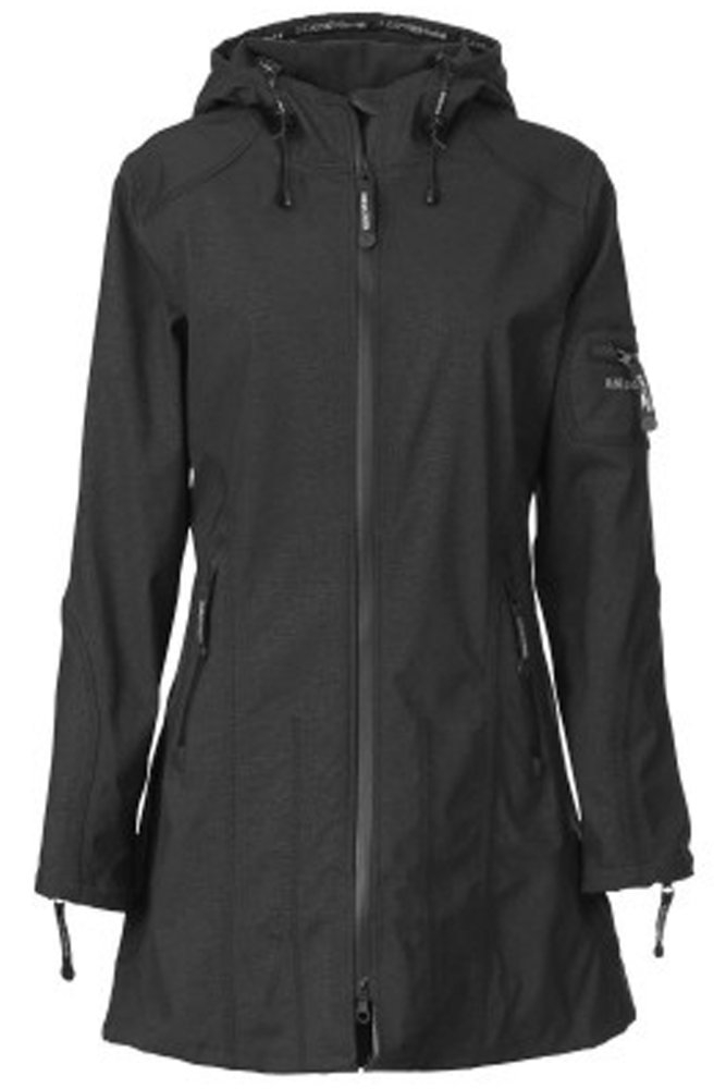 4075c8f8fdfa Ilse Jacobsen RAIN07 Hip-Length Softshell Raincoat in Black