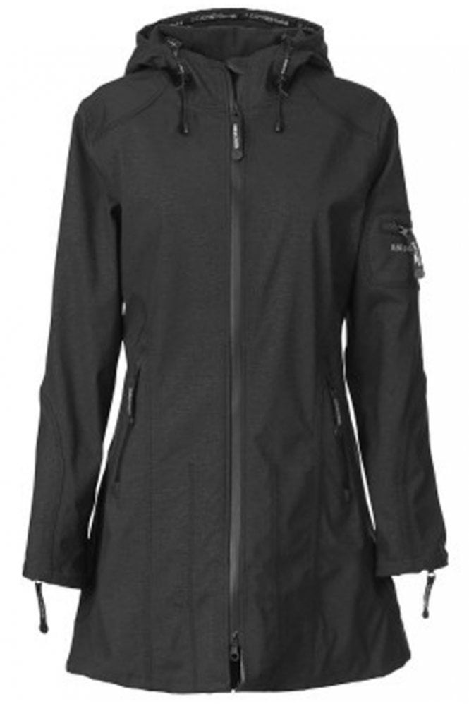Ilse Jacobsen RAIN07 Hip-Length Softshell Raincoat in Black