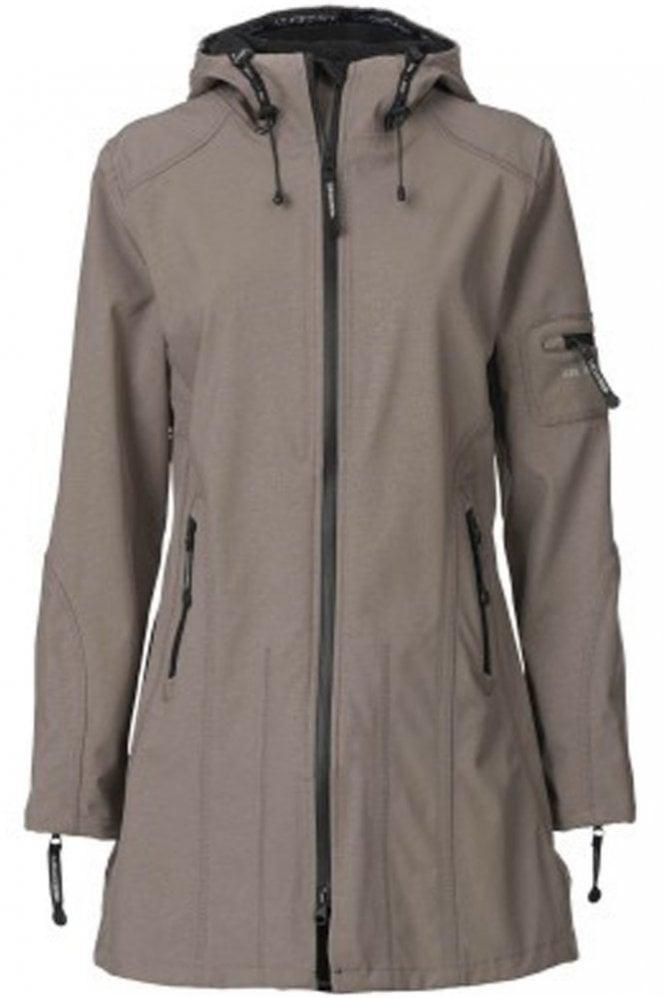 Ilse Jacobsen RAIN07 Hip-Length Softshell Raincoat in Dark Ash