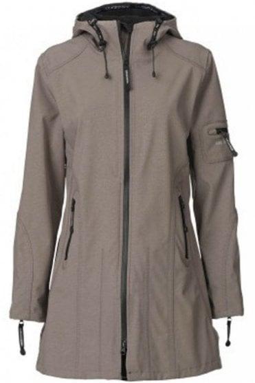 RAIN07 Hip-Length Softshell Raincoat in Dark Ash
