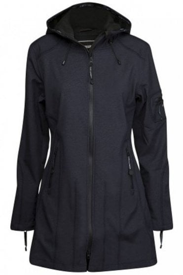 RAIN07 Hip-Length Softshell Raincoat in Indigo
