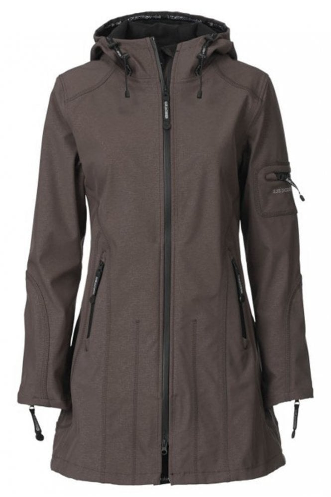 Ilse Jacobsen RAIN07 Hip-Length Softshell Raincoat in Nut