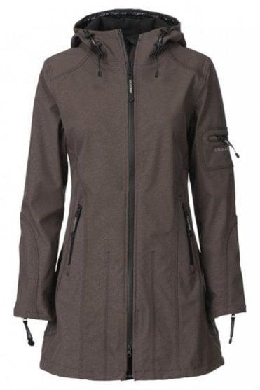 RAIN07 Hip-Length Softshell Raincoat in Nut