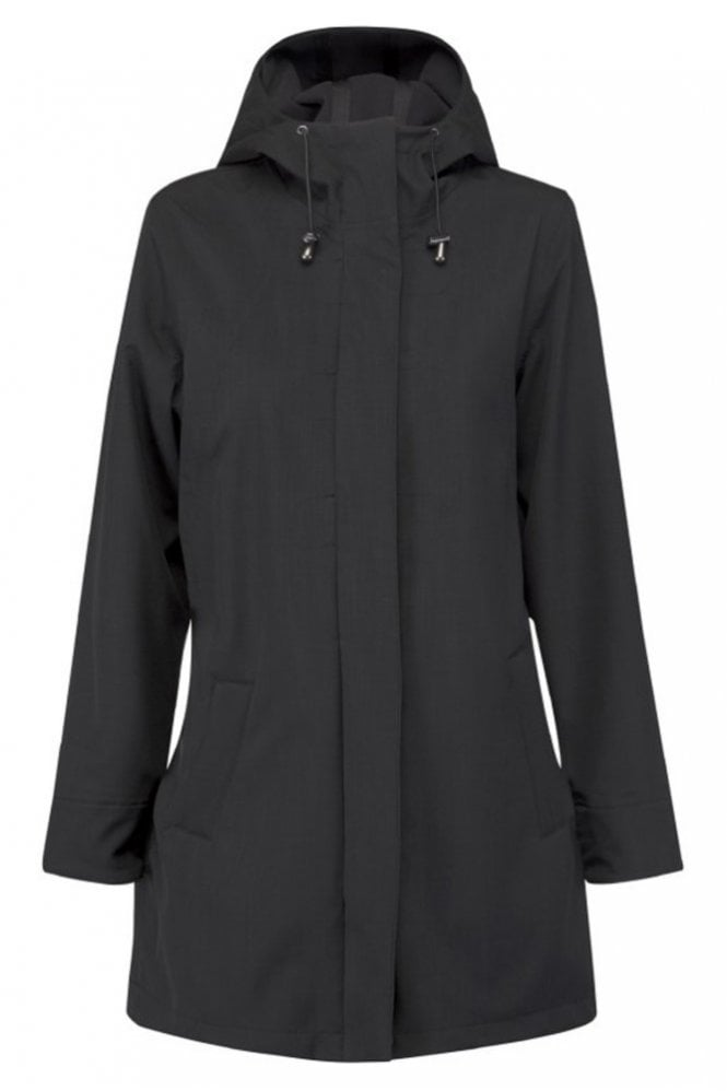 Ilse Jacobsen RAIN50 Thigh-Length Raincoat in Black