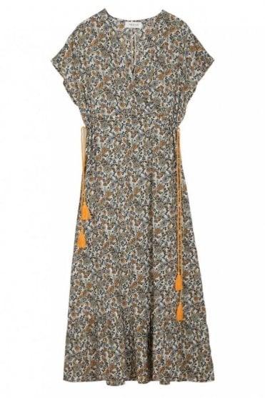 Boho Floral-Print Midi Dress in Azafrán