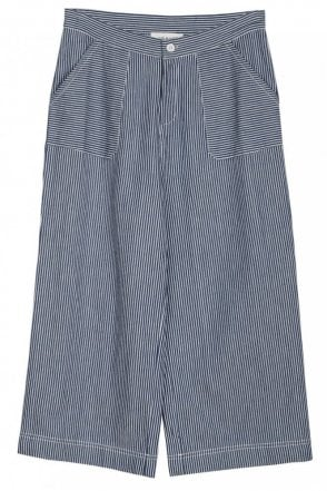 Cropped Striped Wide Leg Pants in Indigo