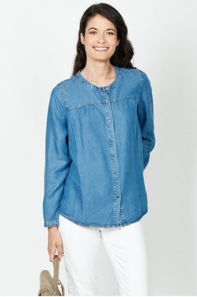 Indi and Cold Denim Tencel Blouse in Tejano