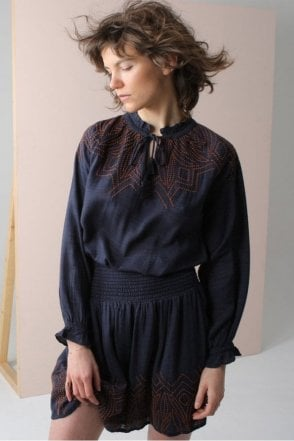 Embroidered And Embossed Blouse