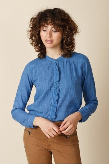 Embroidered Frill Shirt
