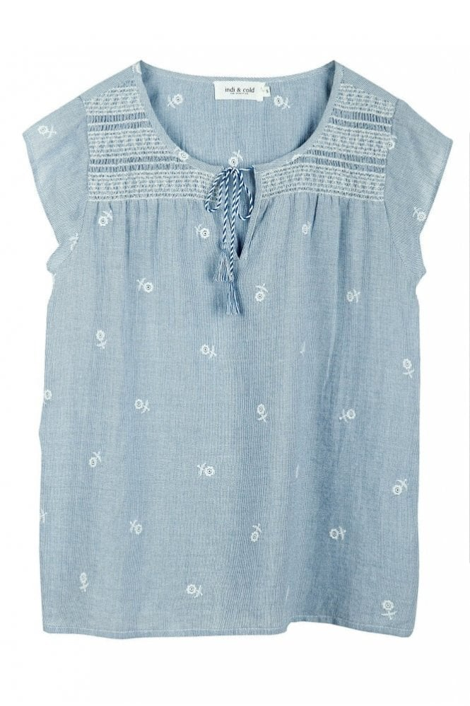 Indi and Cold Embroidered Pinstripe Top in Provenza