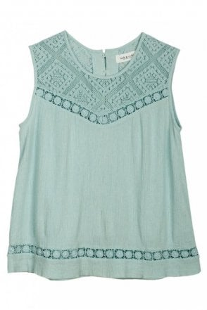 Embroidered Romantic Top in Agua