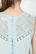 Indi and Cold Embroidered Romantic Top in Agua