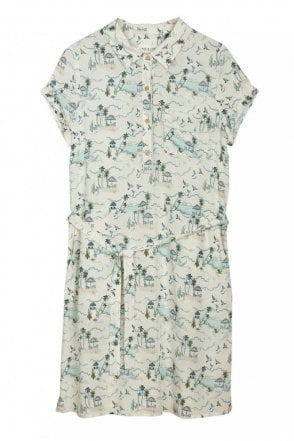 Hawaiian Shirt Dress in Marfil