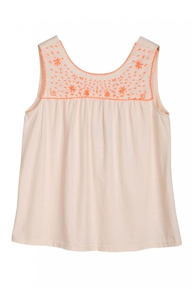 Indi and Cold Neon Embroidered Yoke Tee in Nude