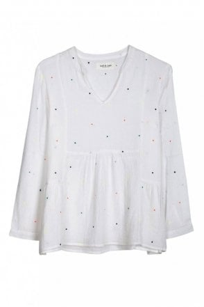 Polka-Dot Embroidered Blouse in Blanco