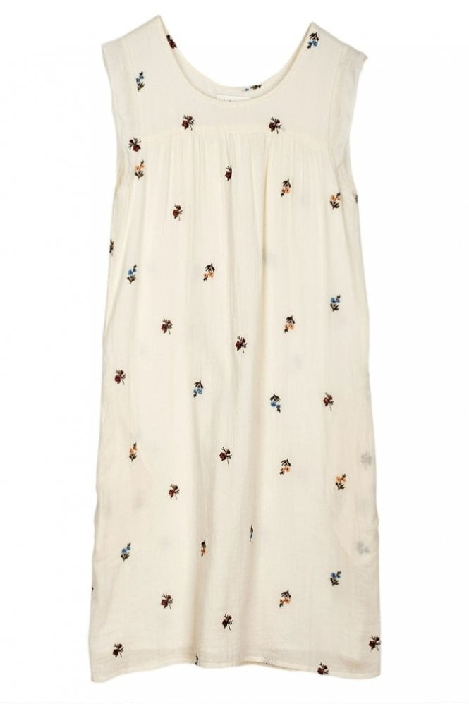 Indi and Cold Prairie Embroidered Cotton Dress in Crudo