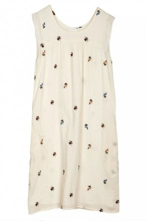 Prairie Embroidered Cotton Dress in Crudo