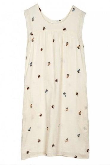 Prairie Embroidered Cotton Dress in Crudo