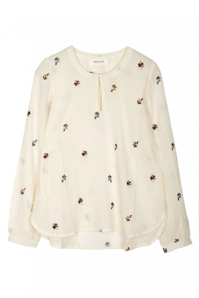 Indi and Cold Prairie Embroidered Cotton Tunic in Crudo