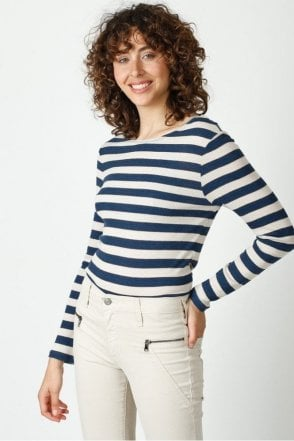 Striped Lurex Henley T-Shirt