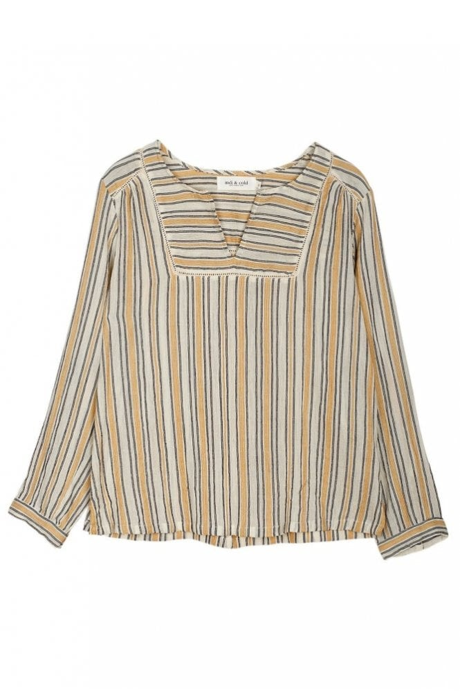 Indi and Cold Yarn Dyed Striped Tunic in Jengibre