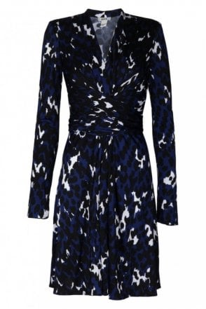 Harleth Blue Print Wrap Dress