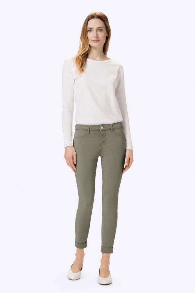 J Brand Anja Luxe Sateen Clean Cuffed Crop in Castor Grey