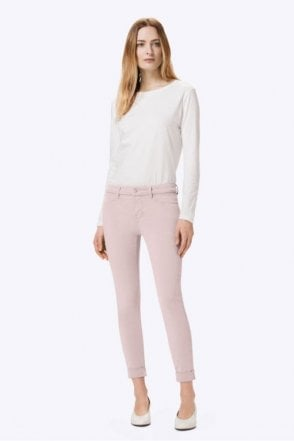 Anja Luxe Sateen Clean Cuffed Crop in Peach Whip