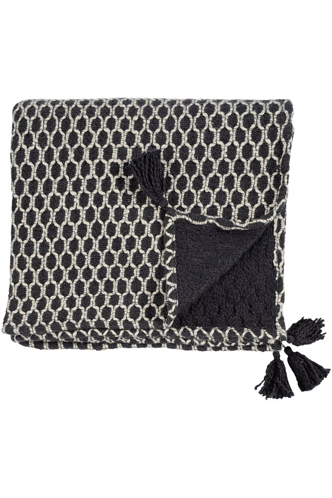 jardin d 39 ulysse woven throw in black and white at sue. Black Bedroom Furniture Sets. Home Design Ideas