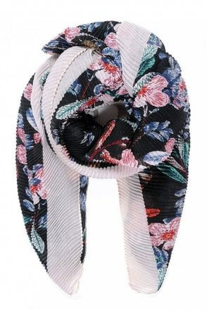 Black Floral Print Pleated Scarf