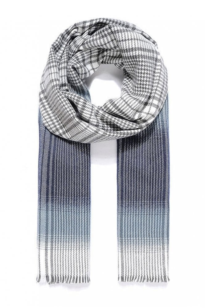 Sunday Blue/Grey Check Thick Scarf