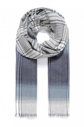 Blue/Grey Check Thick Scarf