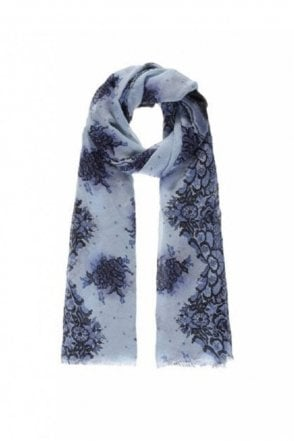 Blue Lace Print Scarf