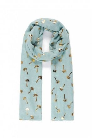 Duck Egg/Gold Coconut Tree Metallic Print Scarf