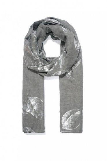 Grey Leafy Metallic Print Scarf