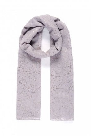 Grey/Rose Gold Leafy Metallic Print Scarf