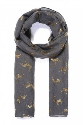 Grey Stag Metallic Print Scarf