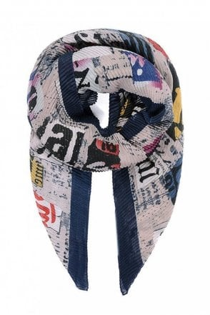 Navy Collage Print Pleated Scarf