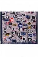 Jewelcity Navy Collage Print Pleated Scarf