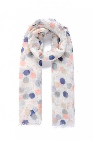 Navy/pink Polka Dot Print Crinkle Scarf